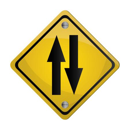 flat design two way street traffic sign icon vector illustration Illustration