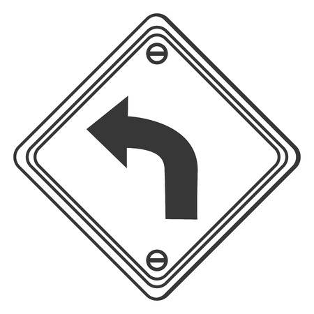 curve ahead sign: flat design left curve ahead traffic sign icon vector illustration