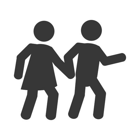 pedestrian: flat design pedestrian pictogram icon vector illustration