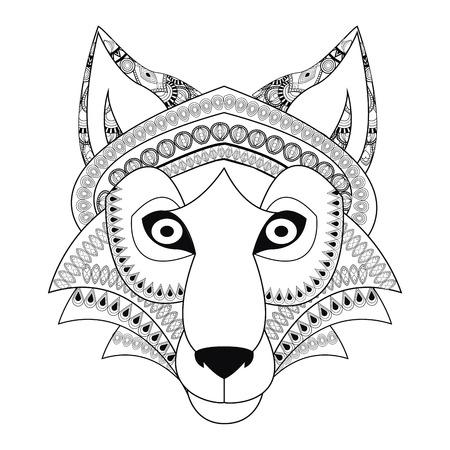 cruel zoo: flat design tribal wolf icon vector illustration