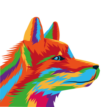 artful: flat design colorful wolf drawing icon vector illustration Illustration