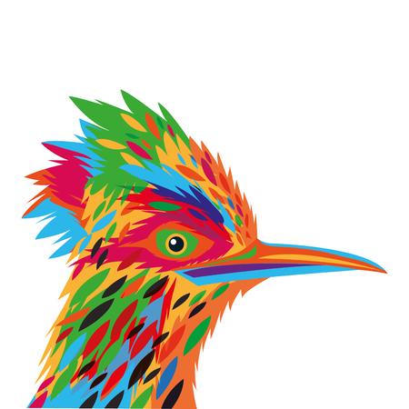 ornithological: flat design colorful woodpecker drawing icon vector illustration Illustration