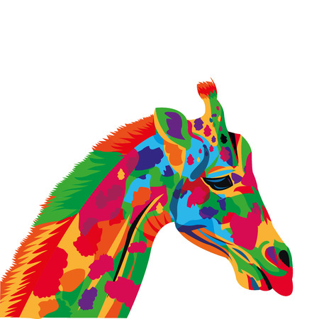 flat design colorful giraffe drawing icon vector illustration