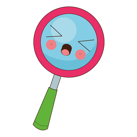 flat design kawaii magnifying glass icon vector illustration
