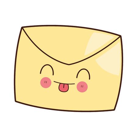 design media love: flat design kawaii envelope icon vector illustration