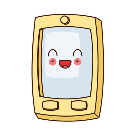 wicked set: flat design kawaii cellphone with buttons icon vector illustration