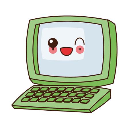mouth screen: flat design kawaii computer icon vector illustration Illustration