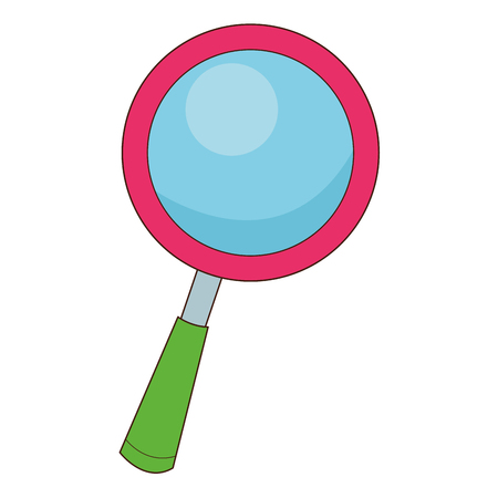 magnifying glass icon: flat design cartoon magnifying glass icon vector illustration
