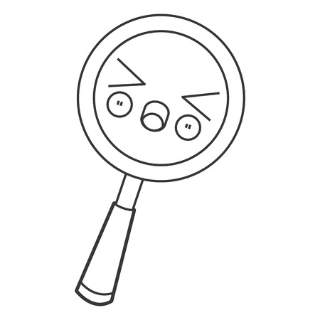 magnifying glass icon: flat design kawaii magnifying glass icon vector illustration