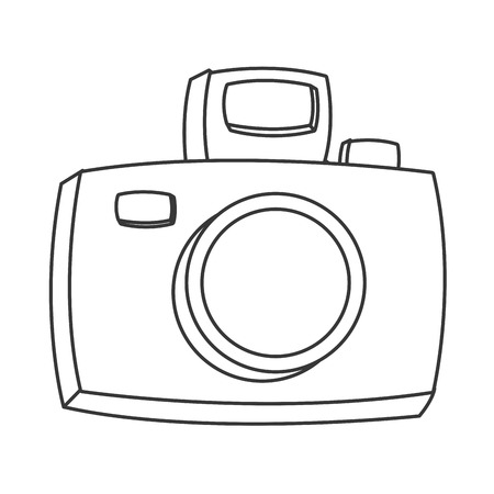 snapping: flat design cartoon photographic camera icon vector illustration