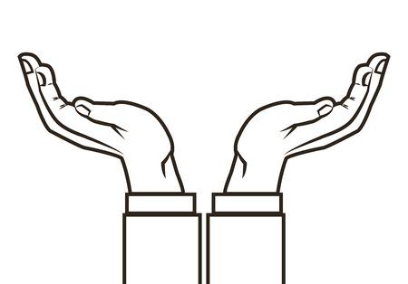 diseño plano mano humana icono de la ilustración del vector