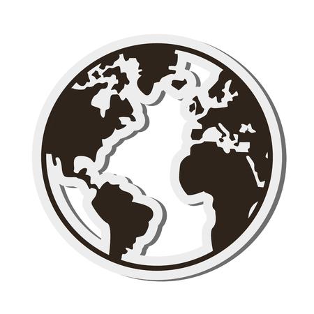 design plat globe terrestre icône illustration vectorielle