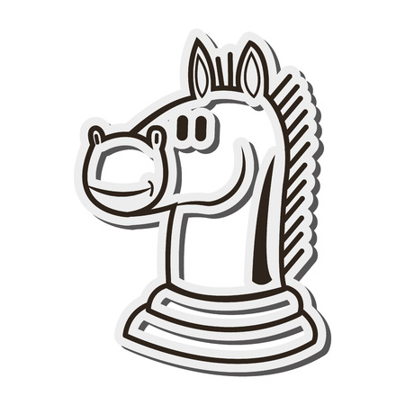 flat design knight chess piece icon vector illustration