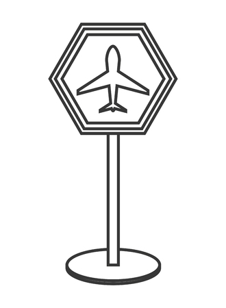 airport sign: flat design airport sign icon vector illustration