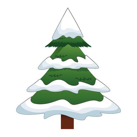 larch: flat design pine tree with snow icon vector illustration