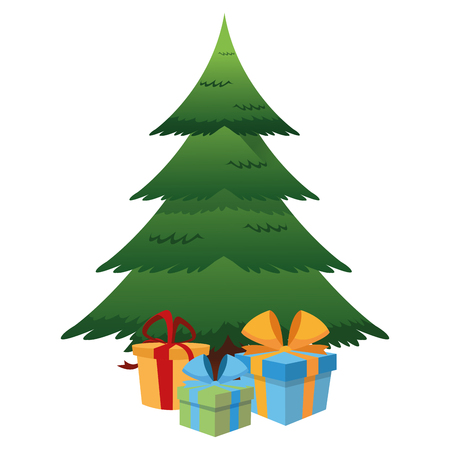 flat design christmas tree and gifts icon vector illustration