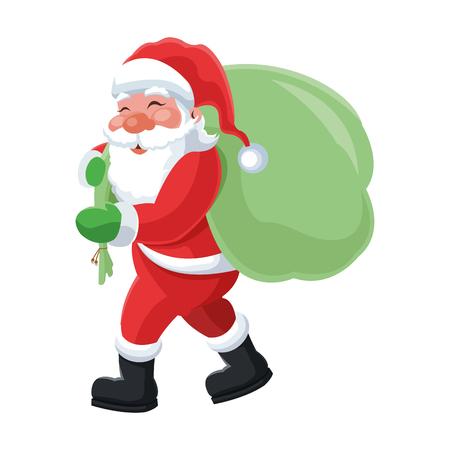 white bacjground: flat design santa claus carrying bag icon vector illustration Illustration