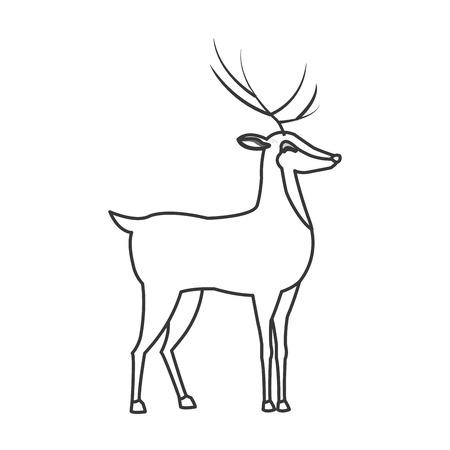 horny: flat design single reindeer icon vector illustration