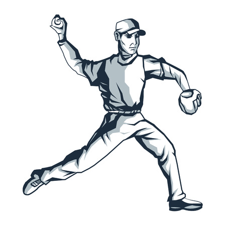 flat design baseball player icon vector illustration