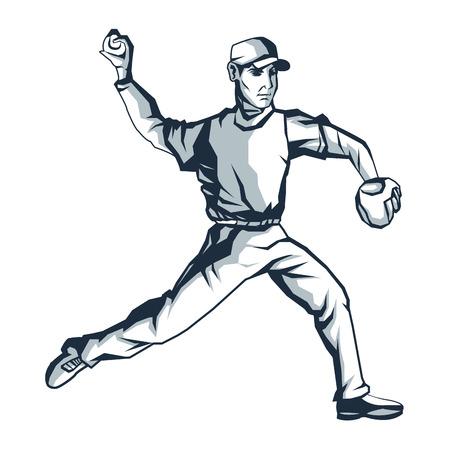 platte ontwerp honkbalspeler pictogram vector illustratie