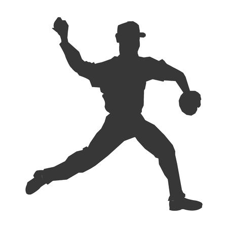 flat design baseball player icon silhouette vector illustration