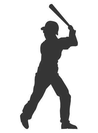 baseman: flat design baseball player icon silhouette vector illustration