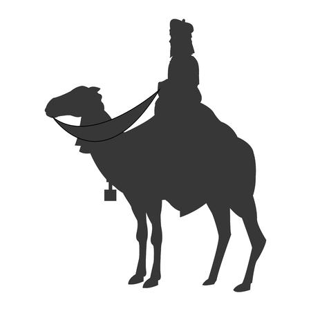 caspar: flat design magi with camel silhouette icon vector illustration Illustration