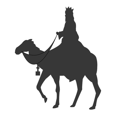 flat design magi with camel silhouette icon vector illustration Illustration