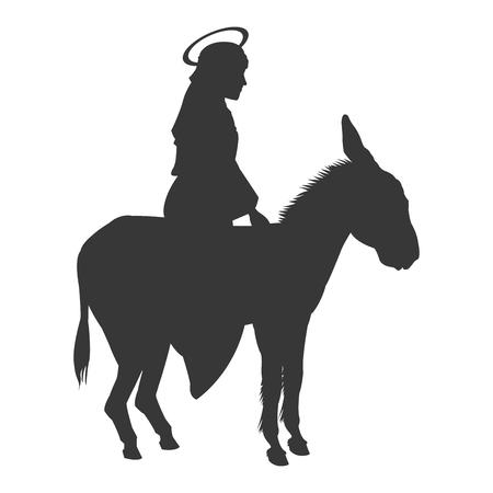 roman catholic: flat design virgin mary riding donkey silhouette icon vector illustration Illustration