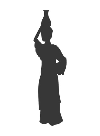 asiatic: flat design woman carrying water silhouette icon vector illustration
