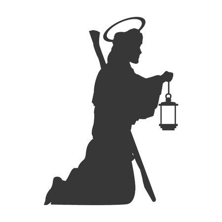 bible shepherd: flat design saint joseph silhouette icon vector illustration