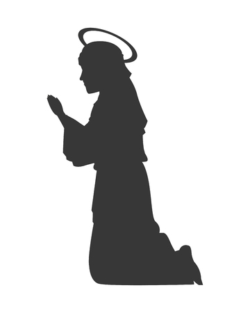 flat design virgin mary silhouette icon vector illustration