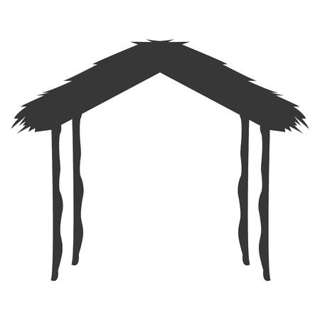portal de belen: dise�o plano pesebre de la natividad de la ilustraci�n del vector del icono