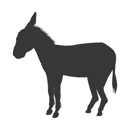 platte ontwerp donkey silhouet pictogram vector illustratie