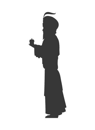 balthazar: flat design magi silhouette icon vector illustration Illustration