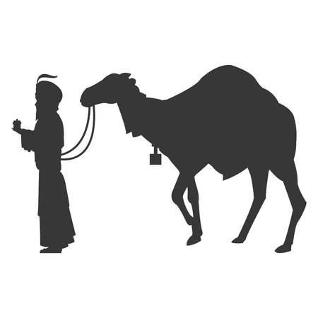 the magi: flat design magi with camel silhouette icon vector illustration Illustration