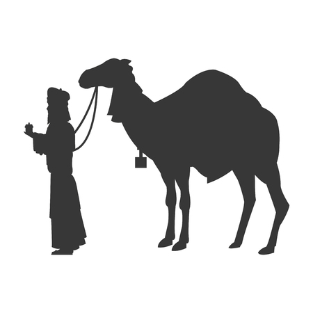balthazar: flat design magi with camel silhouette icon vector illustration Illustration