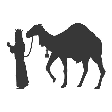 melchior: flat design magi with camel silhouette icon vector illustration Illustration