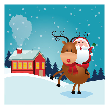 classic santa: Merry Christmas concept represented by santa cartoon and reindeer icon over landscape. Colorfull and classic illustration inside frame. Illustration