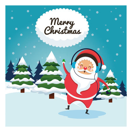 classic santa: Merry Christmas concept represented by santa cartoon icon over landscape. Colorfull and classic illustration inside frame. Illustration