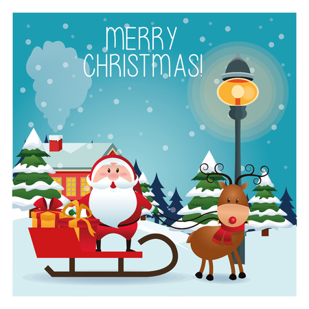 classic santa: Merry Christmas concept represented by santa cartoon and sled icon over landscape. Colorfull and classic illustration inside frame.
