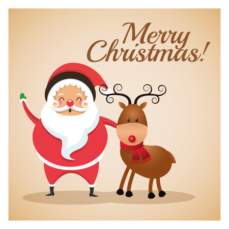 classic santa: Merry Christmas concept represented by santa and reindeer icon over pastel brown background. Colorfull and classic illustration inside frame.