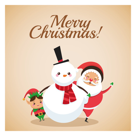 classic santa: Merry Christmas concept represented by snowman elf and santa icon over pastel brown background. Colorfull and classic illustration inside frame.