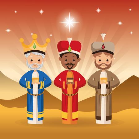 Feliz Navidad y concepto de familia santa representado por tres hombres sabios icono sobre el paisaje del desierto. ilustración llena de color.