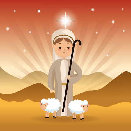 fine art: Merry Christmas and holy family concept represented by shepherd and sheeps icon over desert landscape. Colorfull illustration.