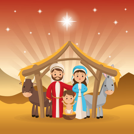 maria: Merry Christmas and holy family concept represented by joseph maria jesus donkey and cow icon over desert landscape. Colorfull illustration.