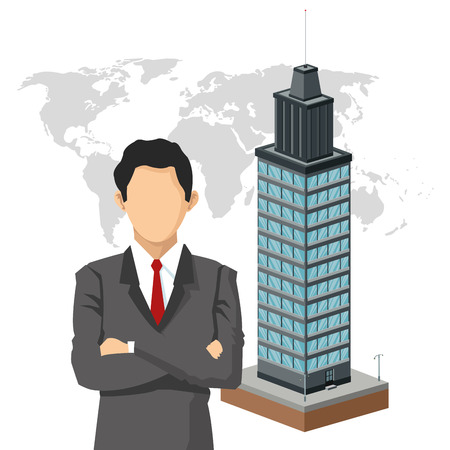 employers: businessman building city human resources business icon. Colorfull and flat illustration. Vector graphic
