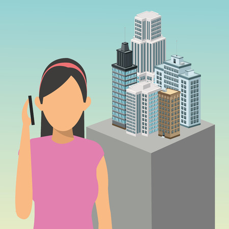 smart girl: girl avatar smartphone building smart city icon. Colorfull and flat illustration. Vector graphic