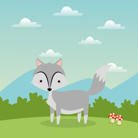 woodland: Woodland animal concept represented by cute wolf cartoon icon over landscape. Colorfull and flat illustration.