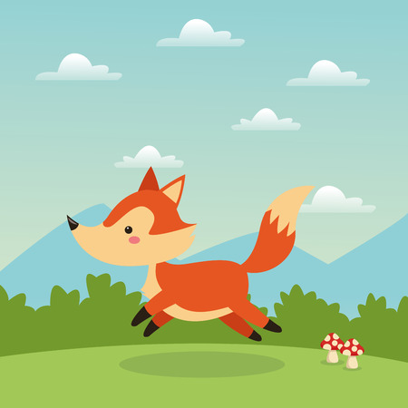 woodland: Woodland animal concept represented by cute fox cartoon icon over landscape. Colorfull and flat illustration.